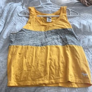 yellow and grey vs pink tank top